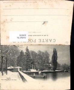 619570,Geneve Genf Parc Mon Repos en hiver Winteransicht Ufer Park