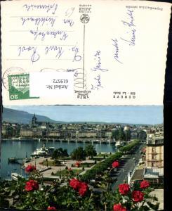 619572,Foto Ak Geneve Genf La Rade Schiffe Dampfer Blumen i. Vordergrund