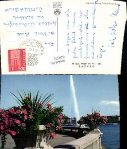 619573,Foto Ak Geneve Genf Le Jet d Eau Fontäne Blumen