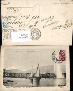 619578,Geneve Genf Jet d Eau et le Mont Blanc Segelboote Fontäne
