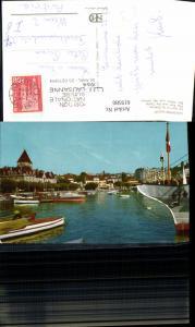 619580,Lausanne Ouchy Le port et le Chateau Hafen Schloss Boote Schiff