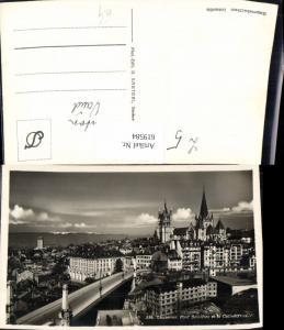 619584,Foto Ak Lausanne Pont Bessieres et la Cathedrale Brücke