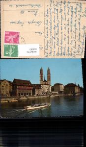619593,Zürich Limmatquai u. Grossmünster Schiff