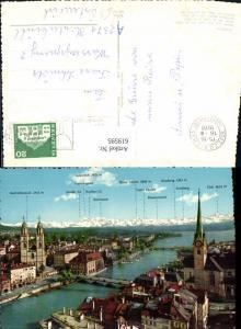 619595,Zürich Blick auf d. Stadt u. d. Alpen Gipfelkarte