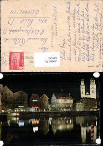 619605,Zürich Ansicht b. Nacht Limmatquai Grossmünster