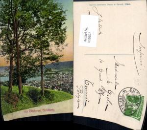 619607,Zürich v. Zürichberg aus Bäume i. Vordergrund