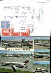 619702,Mehrbild Ak Airport Zürich Kloten Flughafen Flugzeug Swissair