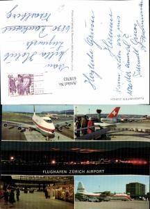 619703,Mehrbild Ak Flughafen Airport Zürich Flugzeug Swissair Flugzeug Saturn