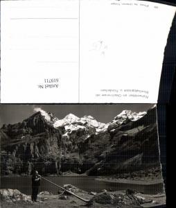 619711,Foto Ak Kandersteg Alphornbläser a. Oeschinensee m. Blümlisalpgruppe u. Fründenhorn Alphorn