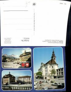 619721,Mehrbild Ak Schwyz m. Rathaus Kirche St Martin Hotel weisses Rössli u. Mythen