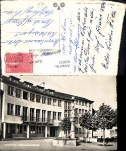 619737,Foto Ak Lenzburg Neues Amtsgebäude Brunnen