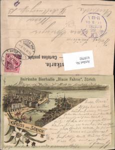 619792,tolle Lithographie Zürich Bairische Bierhalle Blaue Fahne 1894 Vorläufer