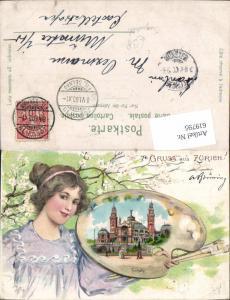 619795,Jugendstil Lithographie Gruß aus Zürich Frau Tonhalle M.S.M. Signiert Artist