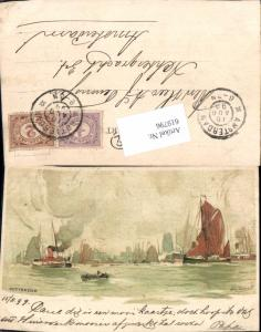 619796,Lithographie Henri Cassiers Rotterdam Hafen