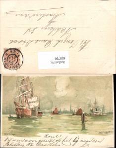 619798,Lithographie Henri Cassiers Amsterdam Segelschiff Hafen