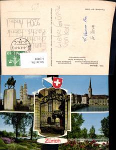 619869,Mehrbild Ak Zürich Grossmünster Fraumünster General-Guisan-Quai