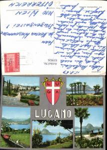 619926,Mehrbild Ak Lugano Bergbahn Ansicht Ufer Palme