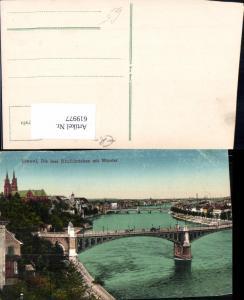 619977,Basel Die drei Rheinbrücken m. Münster Brücke