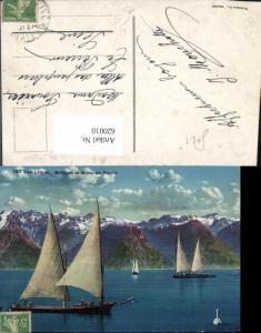 620010,Lac Leman Barques et Alpes de Savoie Segelboote Schwan Genf Genfersee