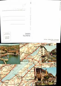 620045,Landkarten Ak Les trois lacs Bienne Neuchatel Morat