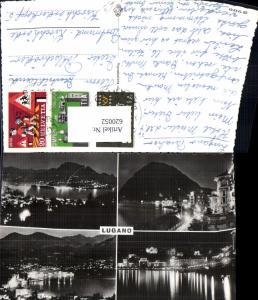 620052,Mehrbild Ak Lugano b. Nacht