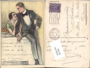 tolle Künstler AK Lucien Achille Mauzan Glamour Frau Mann Liebe Anzug Art Deco