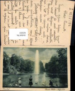 623221,Düsseldorf Runder Weiher i. Hofgarten Springbrunnen Brunnen Schwan