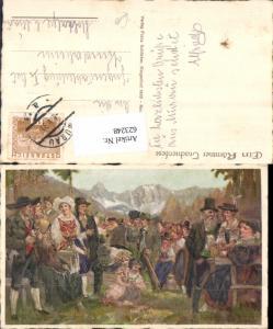 623248,Künstler AK Albert Zahlbruckner Kärntner Trachtenfest Trachten Tracht Weissensee