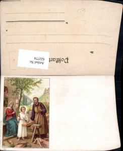 622774,Künstler Litho Jesus als Zimmermann m. Josef u. Maria Religion