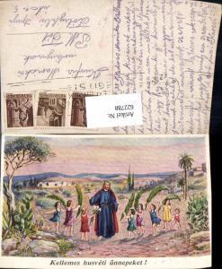 622788,Künstler Ak Jesus m. Kinder Palmzweige Kellemes husveti ünnepeket Religion