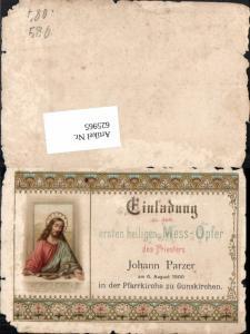 625965,Einladung Gunskirchen b. Wels 1900 Johann Parzer Pfarrer 1. Hl. Mess Opfer