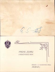 626003,Postwesen Post Praha Prag Telegraphenamt 1904 Jugendstil Art Nouveau