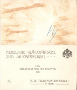 626021,Postwesen Wien Telephon Zentrale 1 Neujahrskarte
