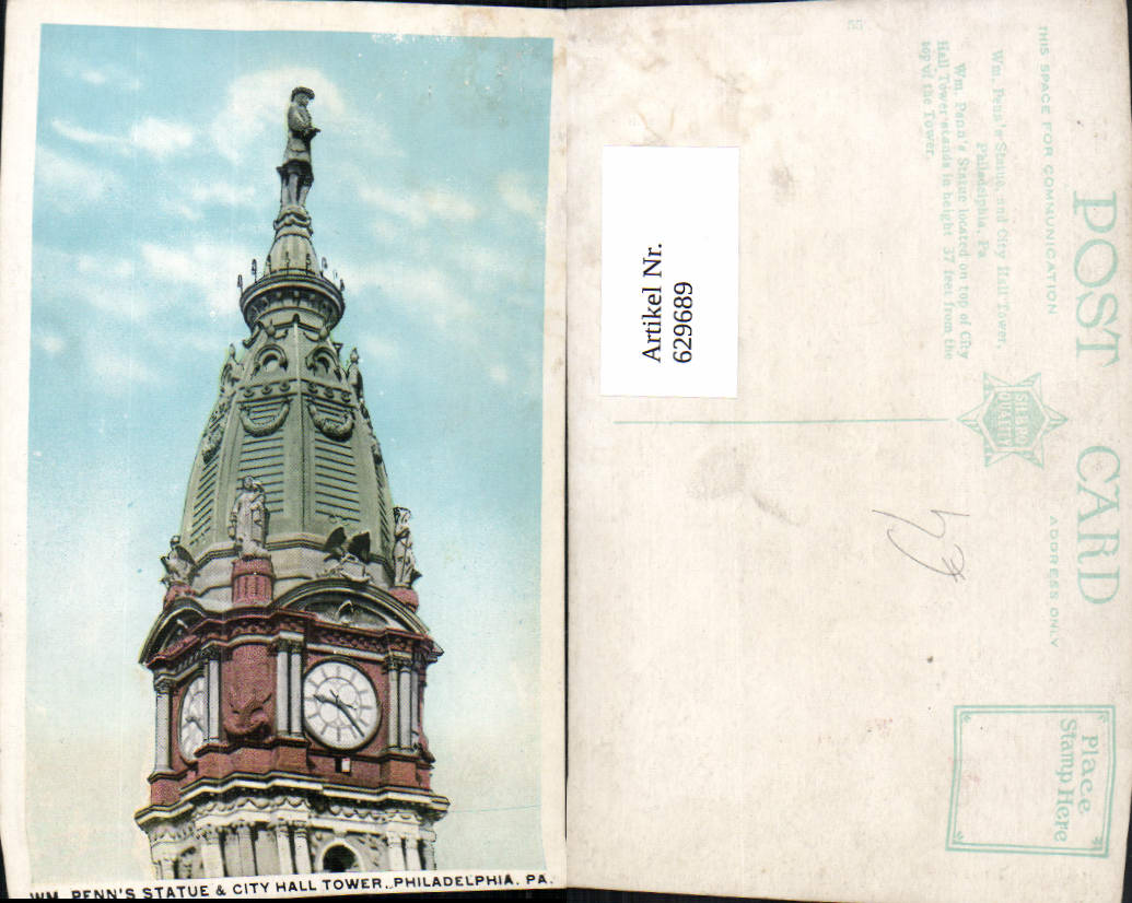 629689,Penns Statue and City Hall Tower Philadelphia Pennsylvania 0