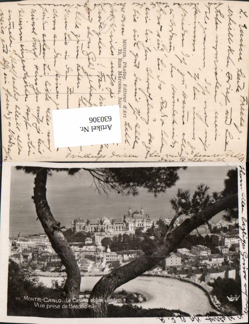 630306,Foto Ak Monaco Monte-Carlo Le Casino et les Jardins Vue prise de Beausoleil 0