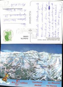630981,Landkarten AK Les Trois Vallers Savoie France Courchevel Meribel Val Thorens Les Menuires