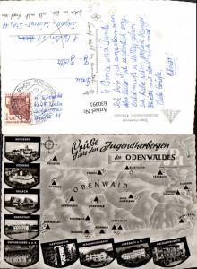 630991,Landkarten AK Jugendherbergen d. Odenwaldes Breuberg Otzberg Eberbach Darmstadt