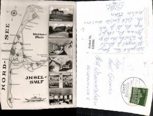 630996,Landkarten AK Insel Sylt Nordsee Wattenmeer Kampen Keitum Westerland