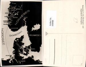 630998,Landkarten AK Nordsee Skagerak Skagerrak Norwegen Schweden Dänemark Hamburg