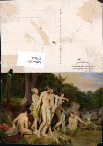 631094,Künstler Ak Ferdinand Georg Waldmüller Die Badenden Frau Akt Nude Erotik