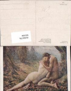 631104,Künstler Ak G. Lavergne Verlorenes Paradies Akt Kuss Nacktes Paar Erotik