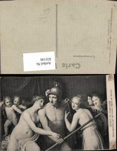 631106,Künstler Ak Ecole de David Mars desarme par les Graces Soldat Frauen Akt Amor Erotik