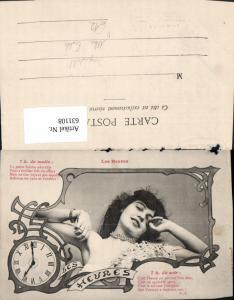 631108,Jugendstil les Heures Frau Dekollete Uhr Erotik