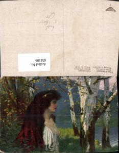 631109,Künstler Ak Eduard Rüdisühli Herbstmorgen Frau Erotik Akt Wald Bäume Birke