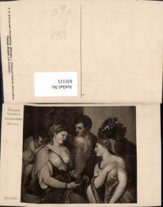 631115,Künstler Ak Tiziano Vecelli Allegorie Frau Barbusig Engel Erotik pub F. A. Ackermann 208/2129a