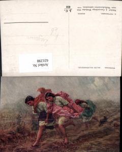 631298,Künstler Ak A. Piotrowski Deszcz Mädchen Sinti Roma Zigeuner Mignon