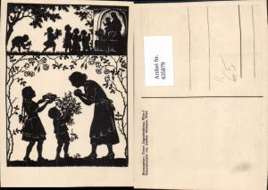635879,Künstler Ak Scherenschnitt Josefine Allmayer Kinder m. Kuchen