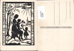 635880,Künstler Ak Scherenschnitt Fr. Wasmayr Mutter mit Kinder