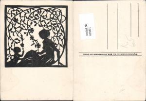 635881,Künstler Ak Scherenschnitt Dora Mair Frau m. Kind