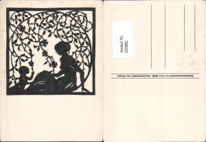 635882,Künstler Ak Scherenschnitt Dora Mair Frau m. Kind